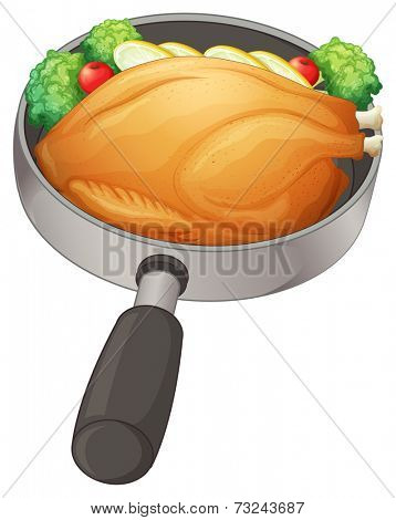 Illustration of a pan with a fried chicken on a white background