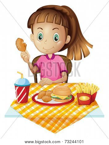 Illustration of a girl eating at the fastfood store on a white background
