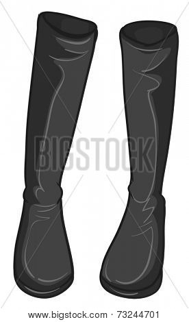Illustration of a pair of gray boots on a white background