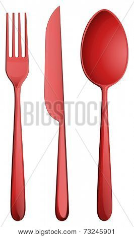 Illustration of the three kitchen utensils on a white background
