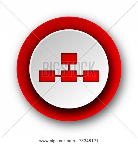 database red modern web icon on white background