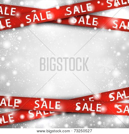 Winter background with red sale ribbons. Christmas vector illustration.