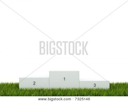 White podium on green grass