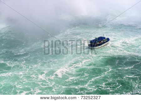 Boat and Horseshoe Falls from Niagara Falls