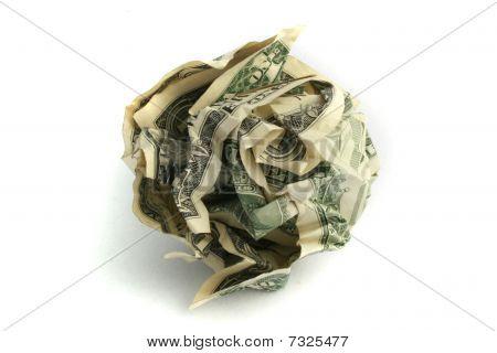 Crumpled up dollar bills