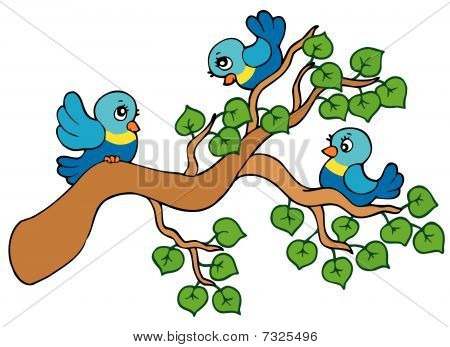 Three small birds sitting on branch