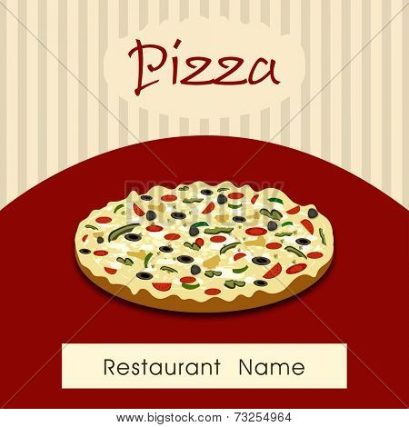 Vintage fast food menu price card design with pizza on grungy beige and maroon background.