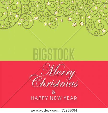 Merry Christmas and Happy New Year celebrations greeting card with beautiful floral design decorated green and red background.
