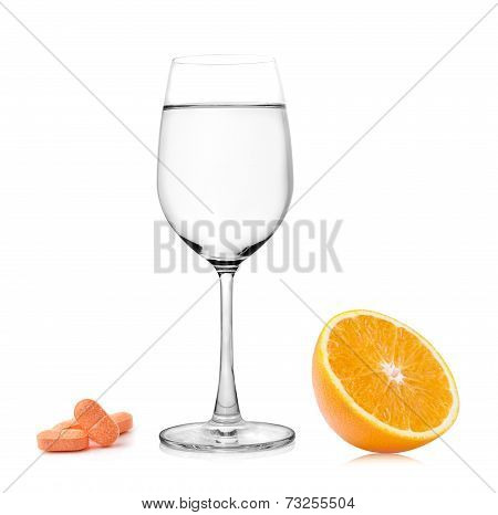 Vitamin C Water And Orange Isolated On White Background