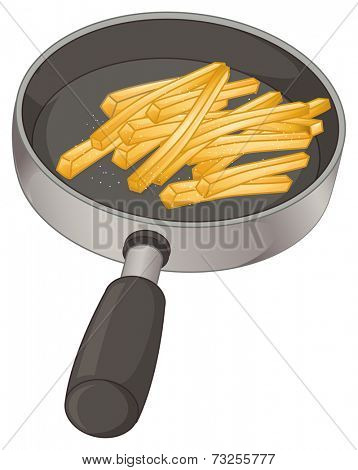 Illustration of a pan with fries on a white background