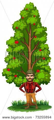 Illustration of a lumberjack under the tree on a white background