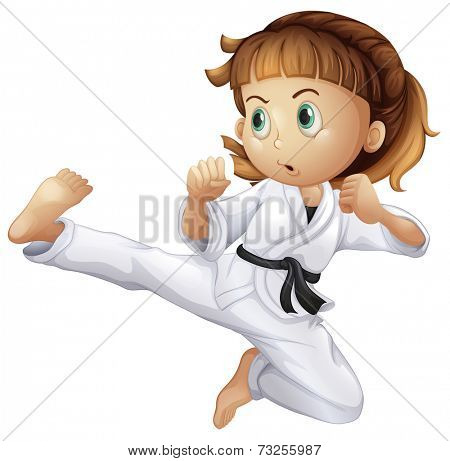 Illustration of a brave young girl doing karate on a white background