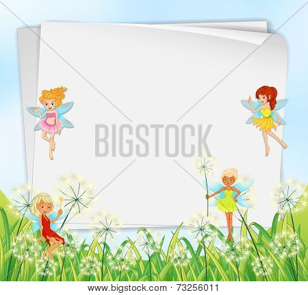 Illustration of the empty paper templates with fairies