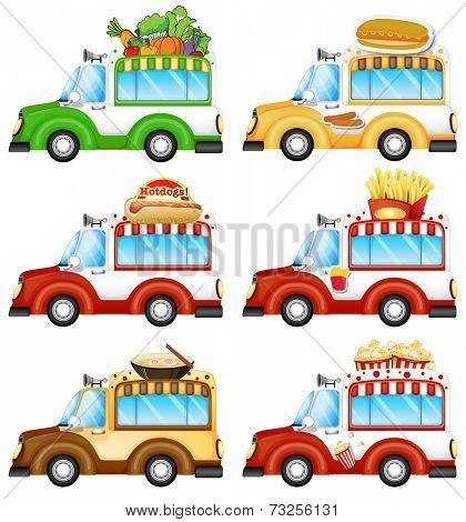 Illustration of the different food vans on a white background