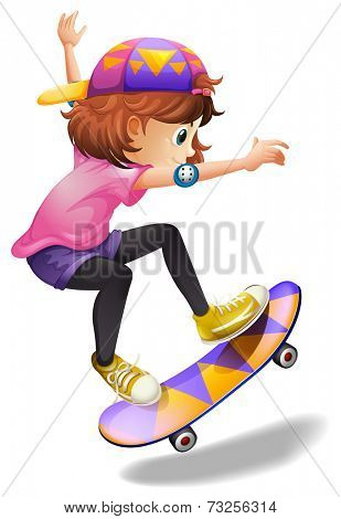 Illustration of an energetic young woman skateboarding on a white background