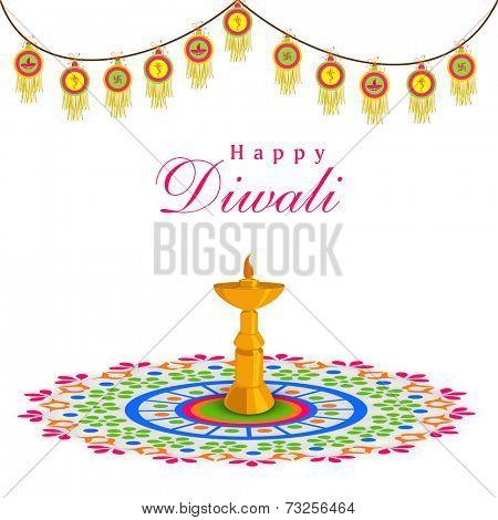Celebration of Diwali with stand illuminated oil lit lamp on rangoli and stylish decoration on white background.