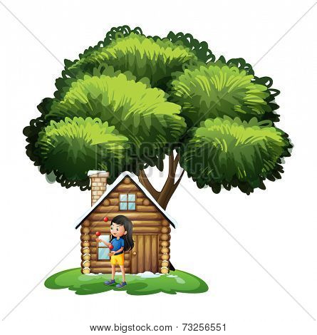 Illustration of a young girl playing outside the house on a white background
