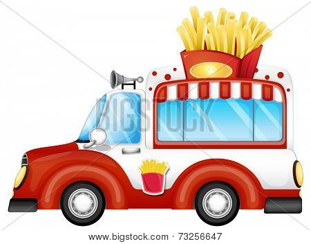Illustration of a vehicle selling fries on a white background