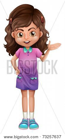 Illustration of a cute little girl on a white background