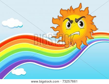 Illustration of a mad sun near the rainbow