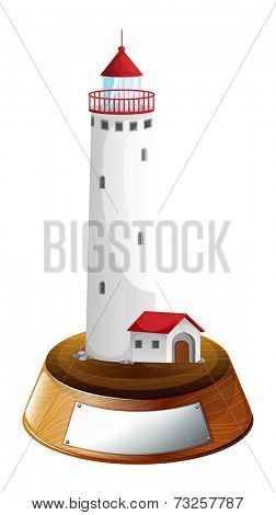 Illustration of a tower decor with an empty template on a white background