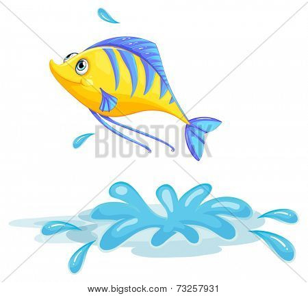 Illustration of a yellow fish on a white background