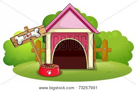 Illustration of a wooden doghouse at the yard on a white background