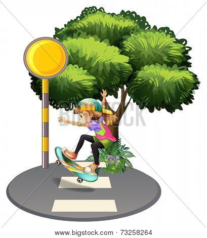 Illustration of an energetic girl at the pedestrian lane on a white background