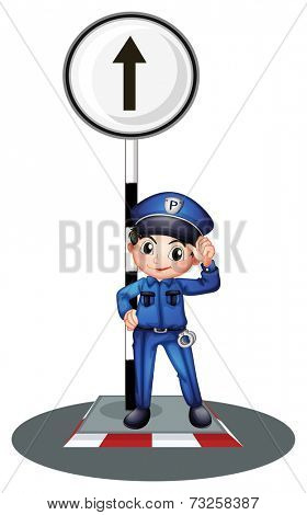 Illustration of a policeman near the post on a white background