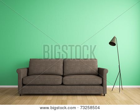 Decoration Fabric Sofa And Green Wall
