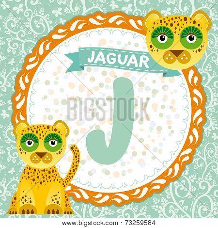 Abc Animals J Is Jaguar. Childrens English Alphabet. Vector