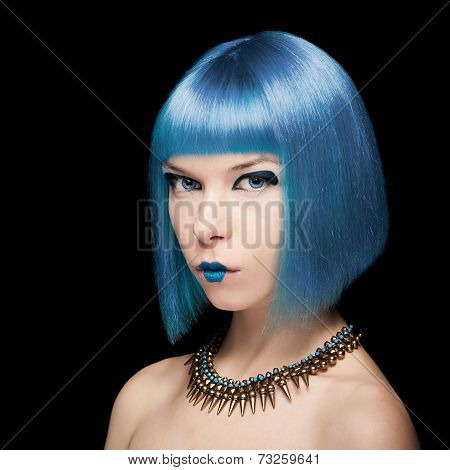 Anime Model With Blue Hair