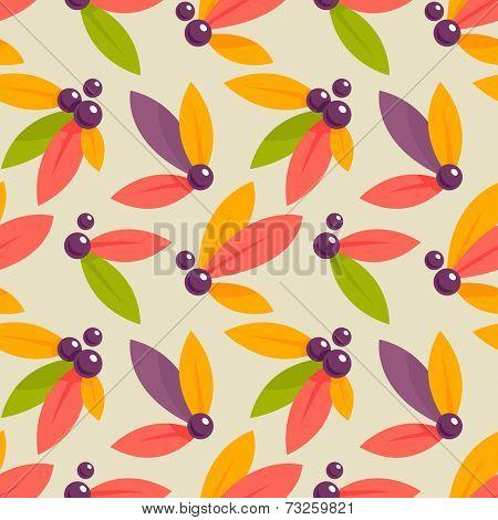 Autumn berries seamless pattern