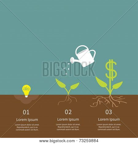 Idea Bulb Seed, Watering Can, Dollar Plant Infographic. Financial Growth Concept. Flat Design.