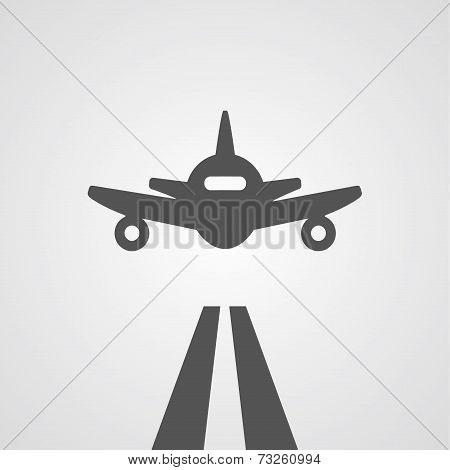 Flat gray landing plane illustration