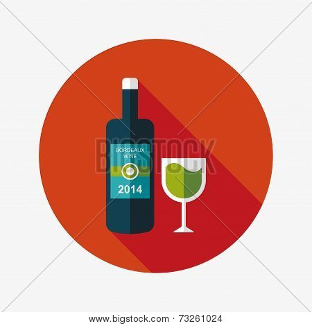 Wine Bottle And A Glass Flat Icon With Long Shadow,eps10