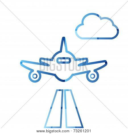 Abstract colorful minimalistic air plane logo
