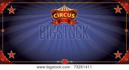 Fantastic night circus. A circus greeting card with a sign  in the night for your entertainment.