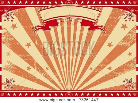 Horizontal retro red sunbeams. A circus vintage poster for your advertising. Perfect size for a screen.