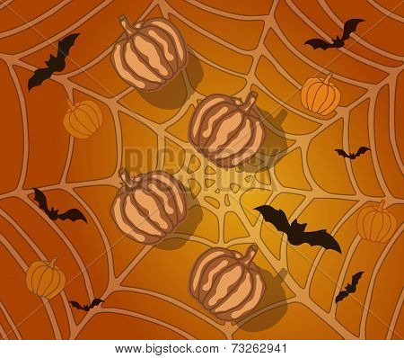 Halloween Background With Pumpkins, Bats And Spiderweb