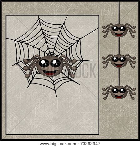 Happy Halloween Background With Smiling Spiders