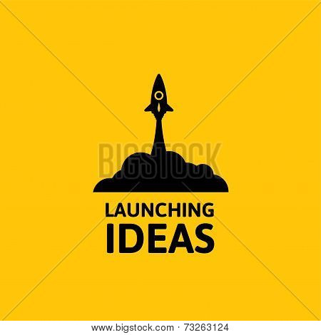Black rocket and cloud, icon in flat style isolated on yellow background, vector illustration