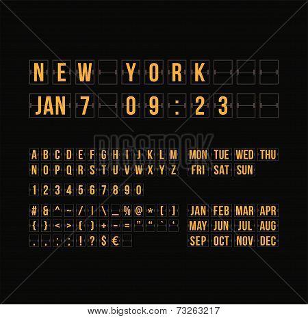 Outline countdown timer and date, flat calendar scoreboard