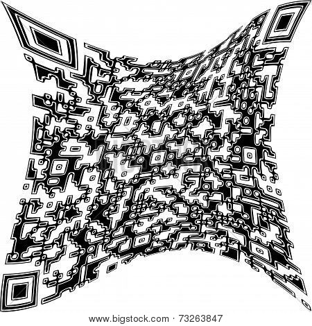 Illustration Deformed Qr Code