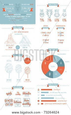 vector infographics set in the style of a hipster. Trendy Retro Vintage Insignias.