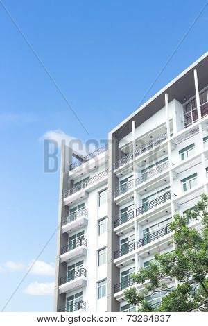 real estate condominium business building blue sky