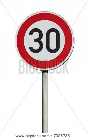 Speed limit 30 kilometers sign isolated