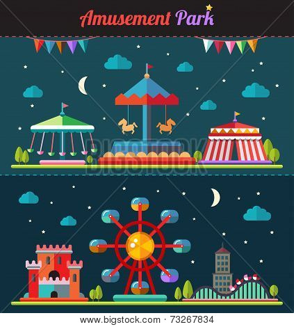 Set of flat design composition with amusement park elements