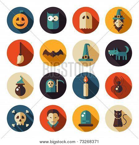 Set of flat design Halloween icons