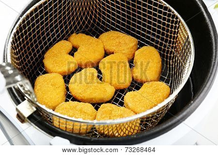 Cutlets in deep fryer, closeup